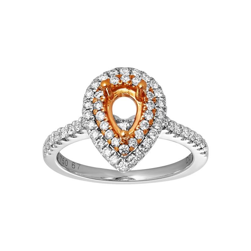 Ladies .500 Ctw Diamond Semi-mount / 2-Tone 18 Kt.