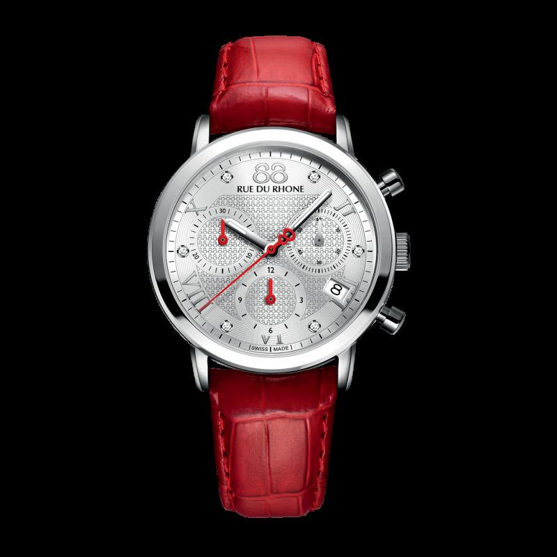 Rue du Rhone Ladies Chronograph Red Watch