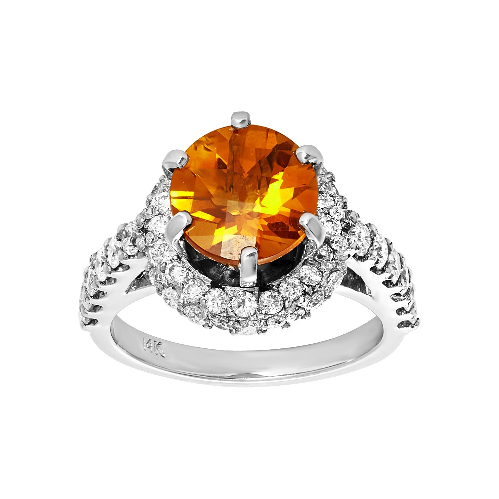 Diamond and citrine custom made ring