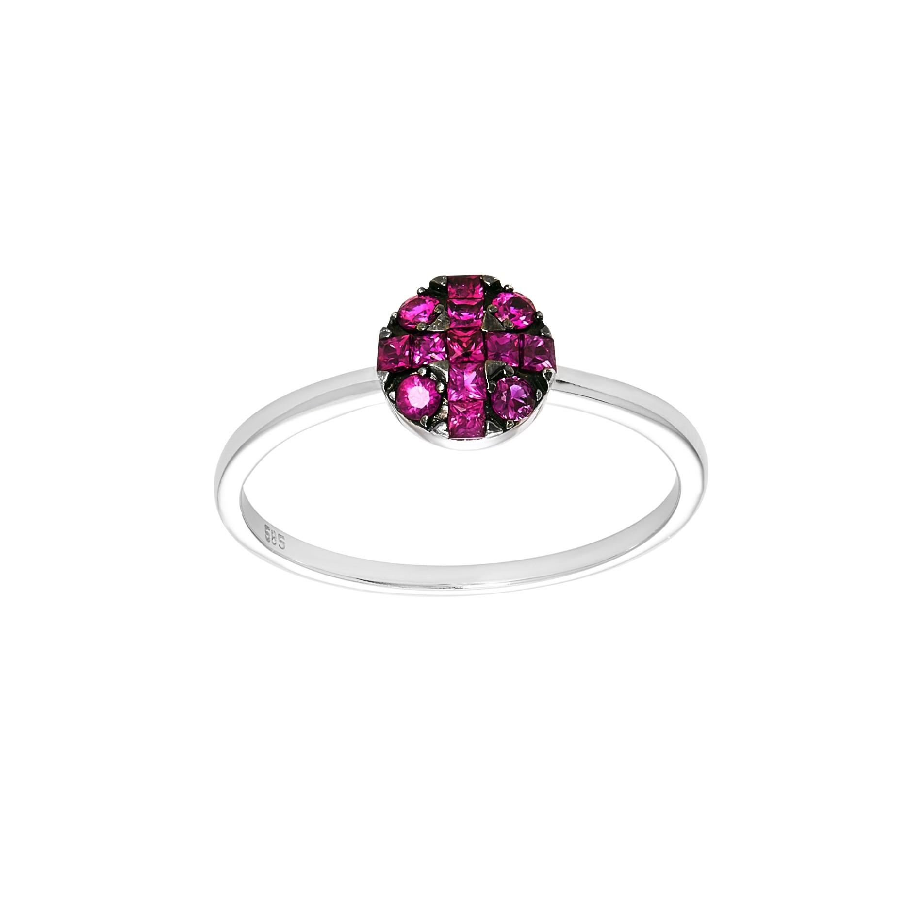 Ladies Round Cut Ruby Fashion Ring / 14 Kt W