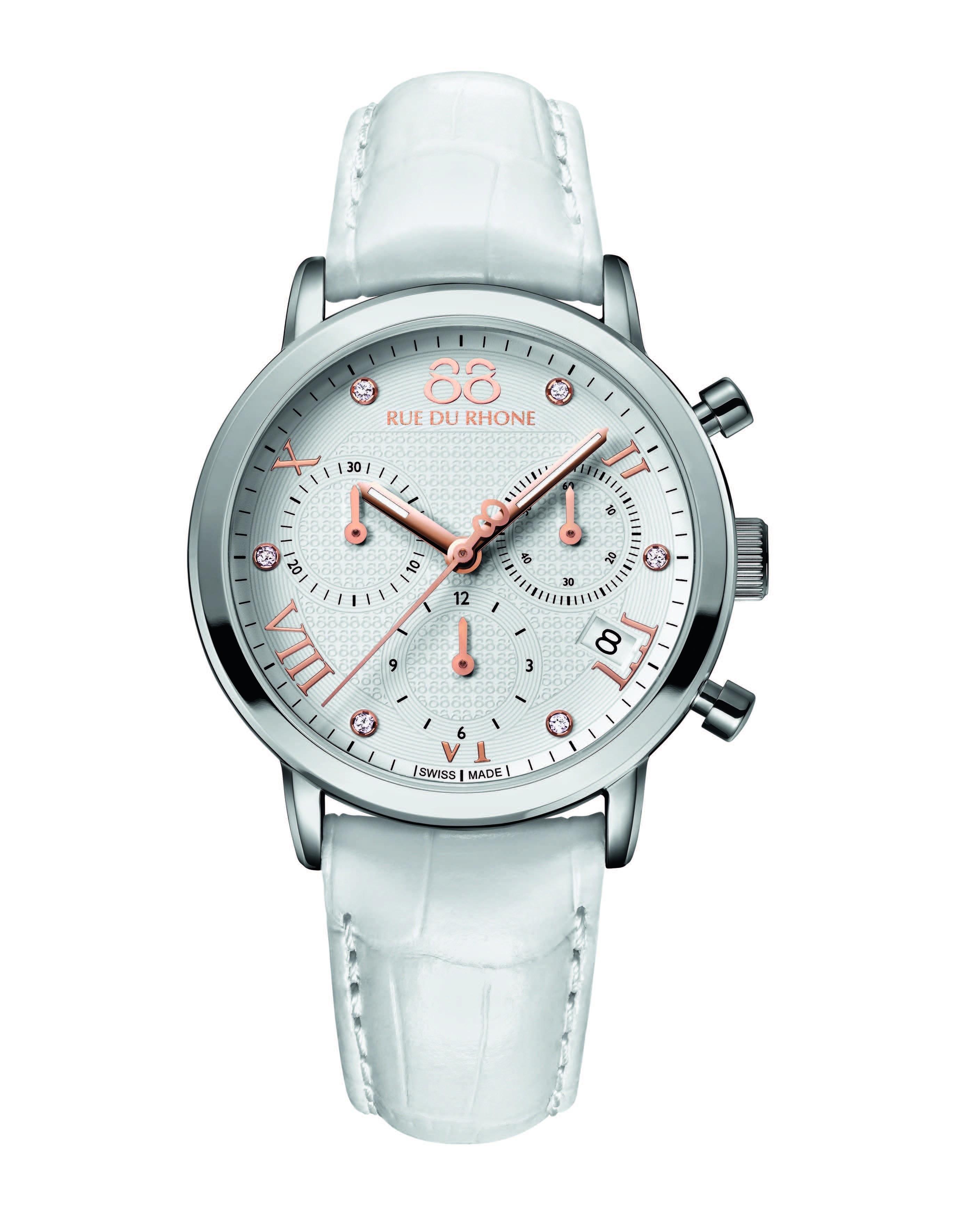 Rue du Rhone Double 8 Ladies White Chronograph Watch