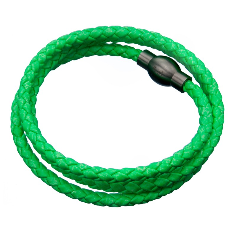 Inox Green Leather Bracelet