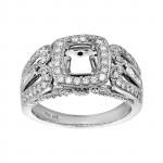 Ladies .900 Ctw Diamond Semi-mount / 18 Kt W