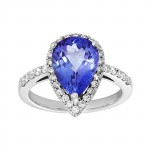 18kw .49ctw diamond and tanzanite ring