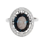 EFFY 14kw 5.18ct London Blue Topaz/ .18ctw Diamond Ring