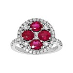 Ladies Emerald Cut Ruby Fashion Ring / 18 Kt W