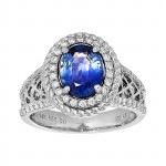 18kw 2.60ct Sapphire and .46ctw Diamond Ring