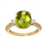 Ladies .380 Ctw Crisscut Cut Peridot Ring / 14 Kt Y