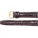 19mm Regular Brown Leather Crocodile Grain Semi-Padded Watch Stra