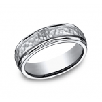 Gents Titanium Hammered Design Wedding Band
