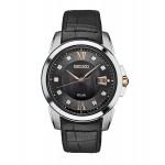 Seiko Men's Black Leather Watch