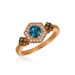 Ladies Blue Topaz Ring / Rose Gold 14 Kt.