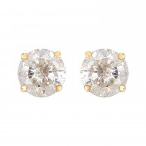 Ladies 1.000 Ctw Round Cut Diamond Stud Earrings / 14 Kt Y