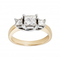 Ladies 1.000 Ctw Princess Cut Diamond Ring / 14 Kt Y