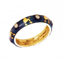 Ladies .070 Ctw Round Cut Yellow Gold Ring / 18 Kt Y