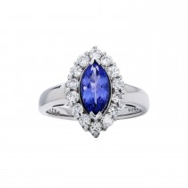 18kw 1.00ctw Tanzanite and .40ctw Diamond Ring
