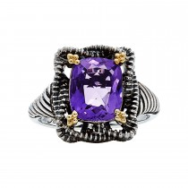 18K Gold & Sterling Silver Amethyst Ring