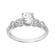 .930 Ct. / 1.290 Ctw Round Cut Diamond Engagement Ring / SI1