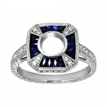 .080 Ct. / .480 Ctw Pear Cut Sapphire Engagement Ring / SI3
