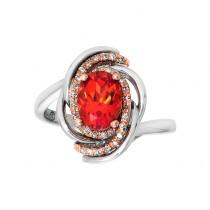 14kw 8x6 Orange Sapphire and Diamond .15ctw Ring