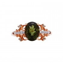 Ladies Oval Cut Multi-color Ring / Rose Gold 14 Kt.