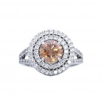18 Kt W Fancy Diamond Engagement Ring