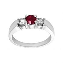 Ladies .450 Ctw Round Cut Emerald Ring / 14 Kt W