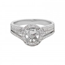Ladies .700 Ctw Diamond Semi-mount / 18 Kt W