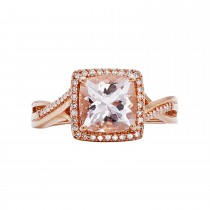 14k Rose Gold Peach Morganite and Diamond Ring