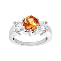 14k White Gold 1.08ctw Diamond and 1.53ct Citrine Ring