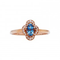 14k Rose Gold 3/8ct Aquamarine and .07ctw Diamond Ring