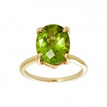 Ladies Emerald Cut Peridot Ring / 14 Kt Y