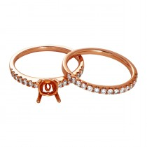 Ladies .560 Ctw Diamond Semi-mount / Rose Gold