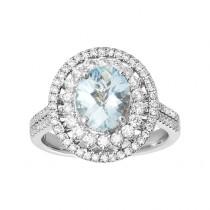 Ladies .760 Ctw Oval Cut Aquamarine Ring / 18 Kt W