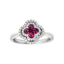 18kt White Gold Ruby & Diamond Clover Ring