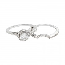 Sterling Silver Cubic Zirconia Ring with Matching Band