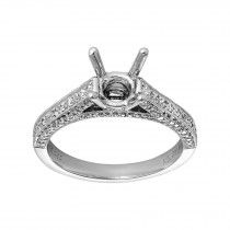 Ladies .440 Ctw Diamond Semi-mount / 14 Kt W