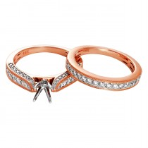 .650 Ctw Diamond Semi-mount / Rose Gold 14 Kt.