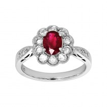 Ladies Ruby Ring / 14 Kt W