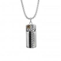 Gents .810 Ctw Sapphire Pendant / Silver & 18 Kt.
