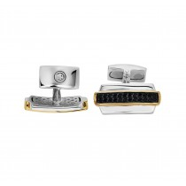Gents .620 Ctw Sapphire Cuff Links / Silver