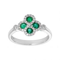 Ladies .260 Ctw Emerald Ring / 14 Kt W