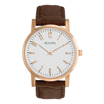 Bulova Men's Rose-Tone Leather Watch