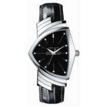 Hamilton Ventura Stainless Steel Black Leather Band