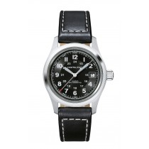 Hamilton Gents Khaki Field Automatic 38mm Black Leather Strap