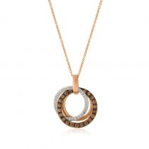 Ladies .710 Ctw Diamond Pendant / Rose Gold 14 Kt.