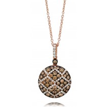 Ladies .880 Ctw Diamond Pendant / Rose Gold 14 Kt.
