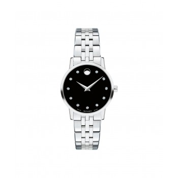 Movado Classic Women's Stainless Steel Watch with Diamond Accents