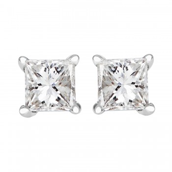 Ladies 1.000 Ctw Princess Cut Diamond Stud Earrings / 14 Kt W