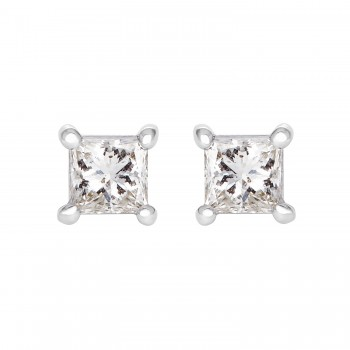 Ladies .480 Ctw Princess Cut Diamond Stud Earrings / 14 Kt W